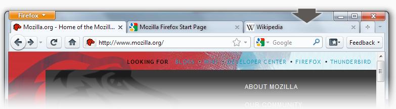 Firefox 4 - taburile deasupra meniului