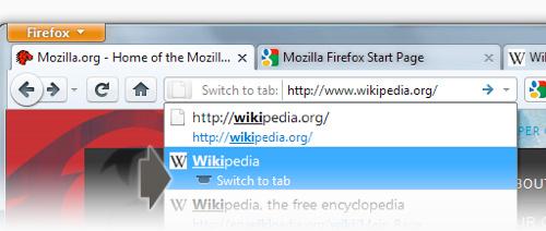 Firefox 4 - Schimbarea taburilor din lista de site-uri