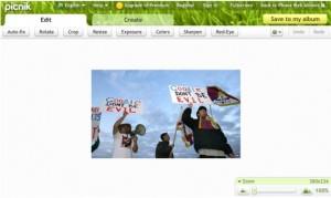 Picasa web albums - Picnik menu
