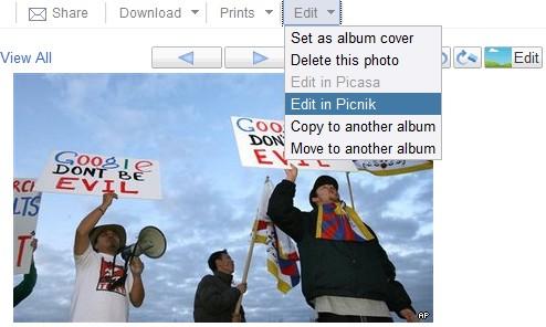 Picasa Web Albums - meniu
