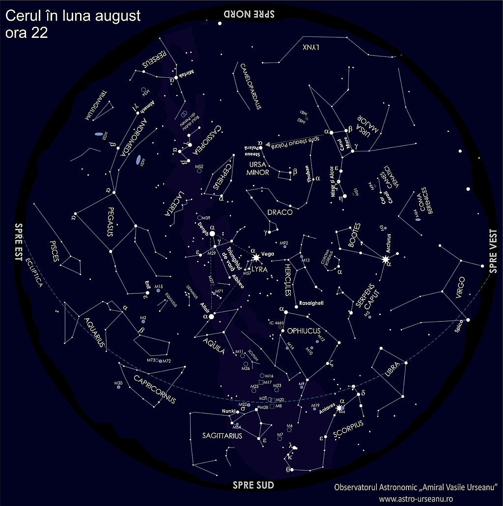 Harta cerului august ora 22:00