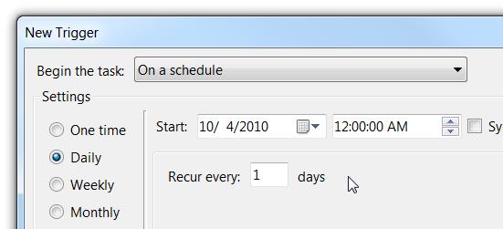 Programare in functie de orar