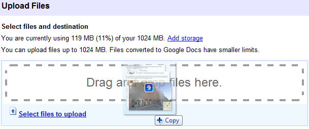 Google Docs upload drag and drop