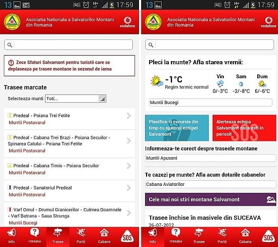 Aplicatie Salvamont - Vodafone