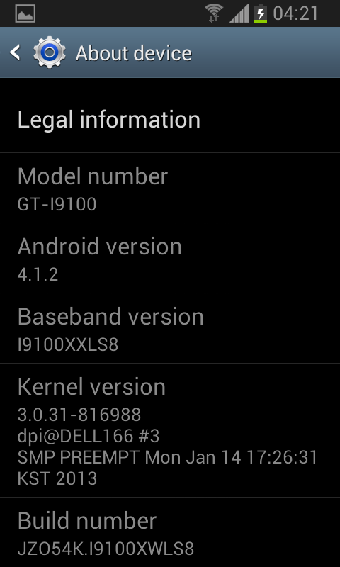 Samsung Galaxy SII Android 4.1.2 Screenshot