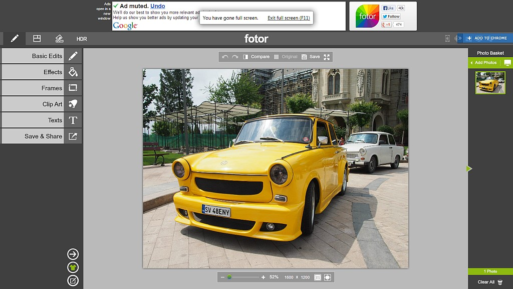 Fotor - Interfata