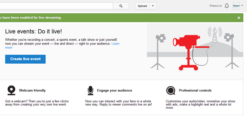 Meniu Youtube Live Events