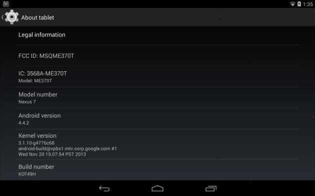 Nexus 7 - Android 4.4.2