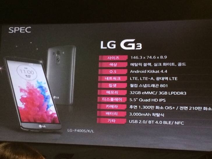 Specificatii Oficiale LG G3