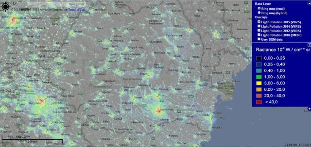 Harta Poluare Luminoasa - Romania