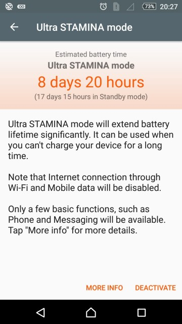 Sony Xperia Z5 - Estimare Ultra STAMINA