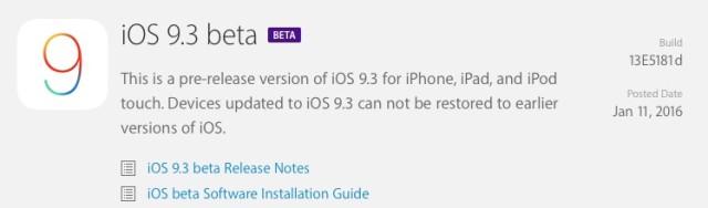 iOS 9.3 Beta