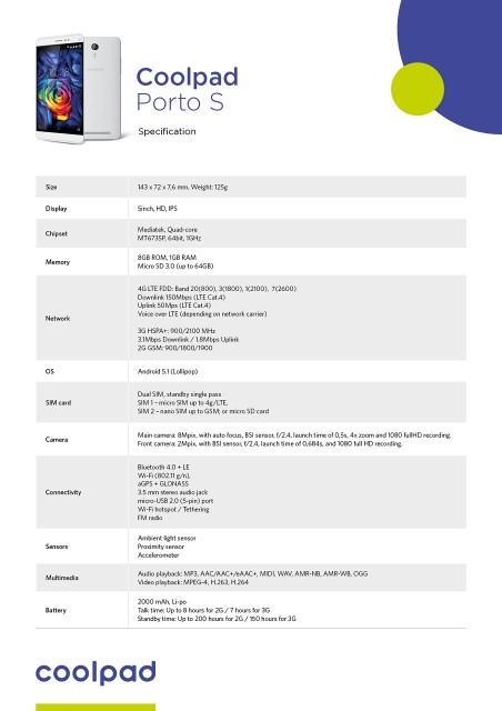 Coolpad Porto S Specificatii Tehnice