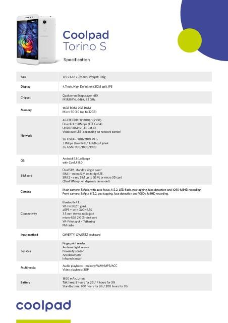 Coolpad Torino S Specificatii Tehnice